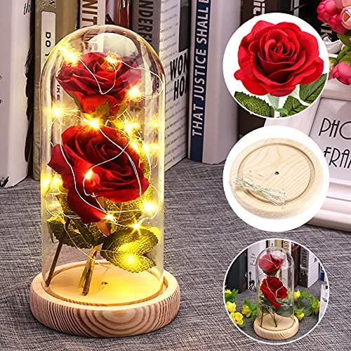UNISOPH Eternal Rose, Rosa Eterna Bella Y Bestia Rosa Artificial con decoración de 20 LED para el día de San Valentín, Aniversario, Regalo de Boda o decoración de Interiores