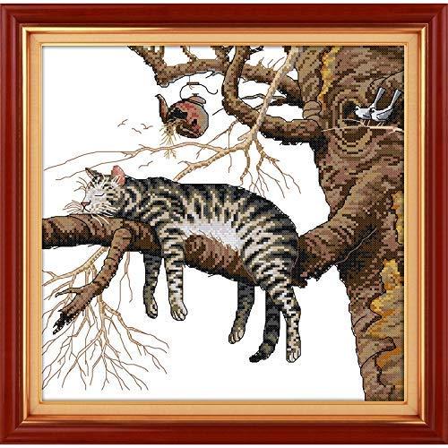 Ewige Liebe Weihnachten Eine Faule Katze Kreuzstich-Kits Ökologische Baumwolle gezählt gestempelt 14CT