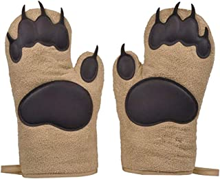 JDgoods 1 Pair Bear Paw Oven Glove Heatproof, Kitchen Cooking BBQ Thicken Bear Paws Oven Gloves, Bear Hands Oven Mitts (Brown)