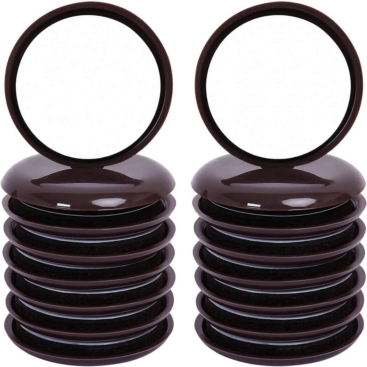 RCHYFEED 16 PCS Self-Stick Furniture Sliders, 2-1/8 inch Furniture Glides for Carpet, Furniture Moving Pads Self Adhesive Furniture Movers for Carpet Sliders(Round, Brown)