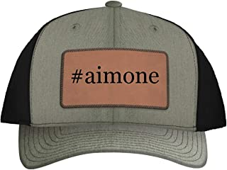 One Legging it Around #Aimone - Leather Hashtag Dark Brown Patch Engraved Trucker Hat