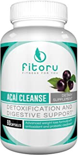 Fitoru Premium Acai Cleanse - 100% Natural and GMO Free with Maximum Strength Antioxidant Cleanse for Anti-Aging, Boosting Metabolism, Burning Fat, and Weight Loss