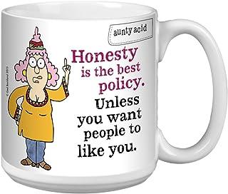 Tree-Free Greetings Extra Large 20-Ounce Ceramic Coffee Mug, Aunty Acid Honesty Is Best