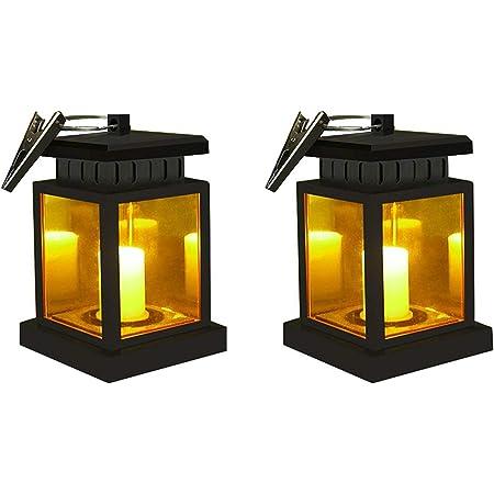 4X Solar Powered Outdoor Garden Flickering LED Candle Lantern Light Hanging Lamp