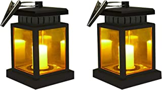 Solar Candle Lantern Waterproof LED Flickering Flameless Candles Outdoor Garden Hanging Umbrella Lanterns LED Security Night Light Lamp with Clip for Beach Tree Pavilion Path Yard Lawn,Pack of 2