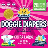 Disposable Dog Female Diapers | 20 Premium Quality Adjustable Pet Wraps with Moisture Control & Wetness Indicator | 20 Count Extra-Large Size