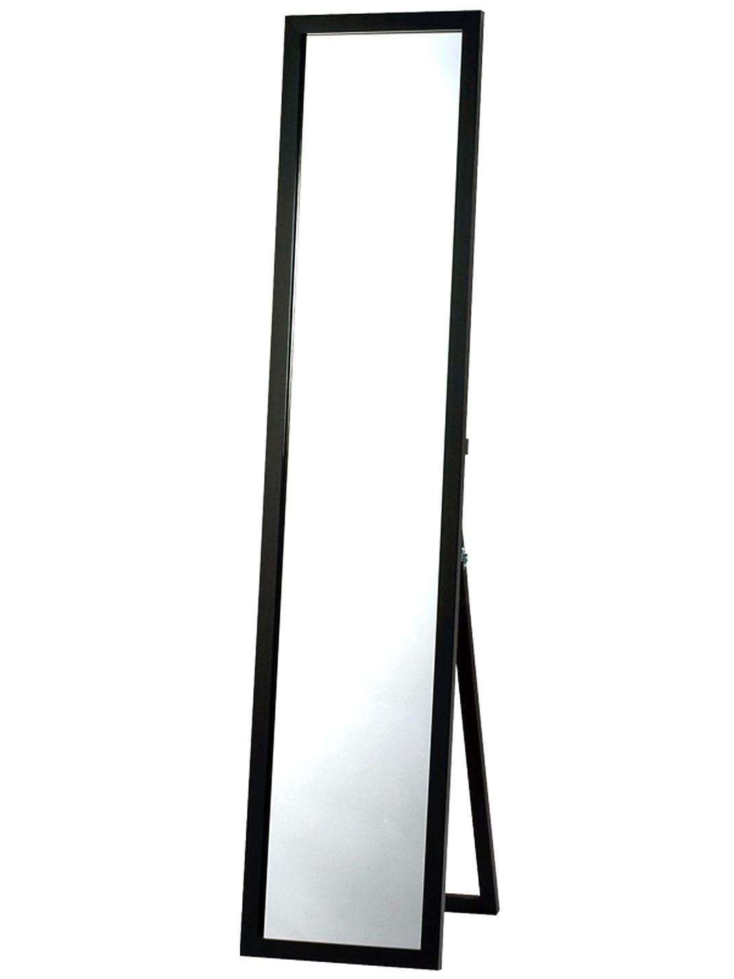 曲げる民主主義卵鏡面仕上げ スタンドミラー ブラック  全身 幅33cm x 高さ150cm 飛散防止