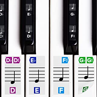 Color Piano Stickers w/Complete Notes on Grand Staff for 49/