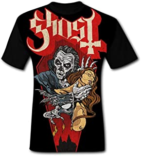 Gh_ost Heavy Metal Music Men's 3D Printed Graphic T Shirts Crew Neck Fashion Tees Short Sleeve for Man Tops Black