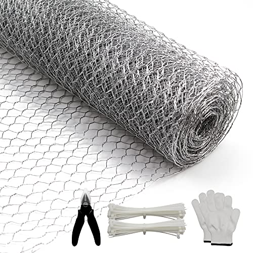 BSTWM Small Hole Chicken Wire for Crafts 16.9 Inches x 16.4 Feet x 0.43 Inch Mesh,Galvanized Hexagonal Floral Chicken Wire Net,with Gloves,Wire Ties and Plier (16.4ft)