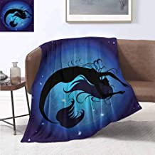 jecycleus Mermaid Children's Blanket Silhouette of Legendary Aquatic Girl on Moon Sky Background Fictional Print Lightweight Soft Warm and Comfortable W60 by L50 Inch Purple Black