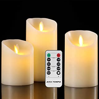 Aku Tonpa Flameless Candles Battery Operated Pillar Real Wax Flickering Moving Wick Electric LED Candle Gift Set with Remote Control Cycling 24 Hours Timer, Pack of 3 (D:3.25