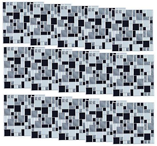 infactory Sticker für Fliesen: Selbstklebende 3D-Mosaik-Fliesenaufkleber Modern, 26x26 cm, 15er-Set (Wandverkleidung-Aufkleber)