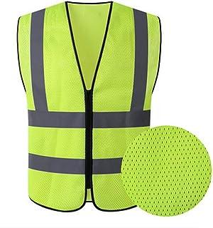 HYCOPROT Warnweste Warnwesten Sicherheitsweste Hochsichtbare Reflektierende Weste Executive Manager Jacke Workwear Zip 2 Band Brace Security(Gelb, Mesh XL)