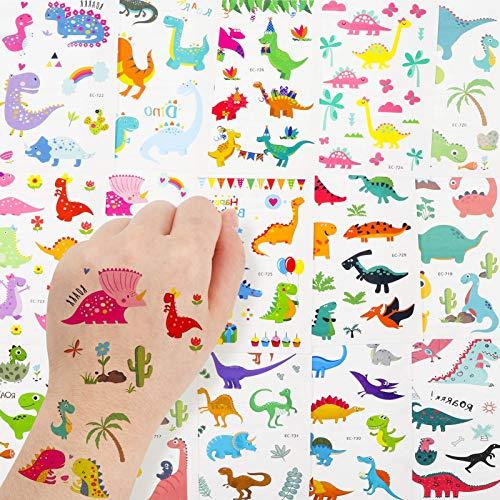 Heyu-Lotus Tattoo Kinder, Dinosaurier Temporäre Tattoos Kinder Aufkleber Sticker Set Wasserdicht Klebe Kindertattoos Aufkleber Schablonen für Mädchen Jungen Kindergeburtstag Mitgebsel