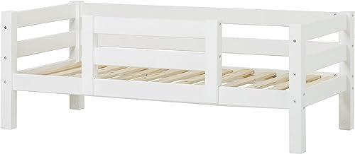 Hoppekids Kinder- Jugend- Einzelbett, Kiefer massiv inklusiv Lattenrost Holz Weiß 169 x 79 x 62 cm