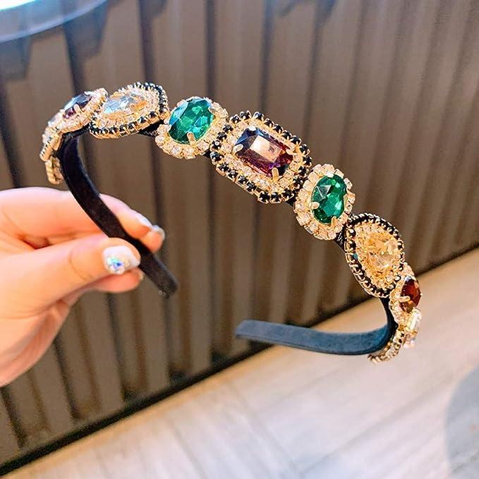 Barock Stil Edelstein Farbe Diamant Stirnband Miss Fortan Haarschmuck Haarband f/ür Damen