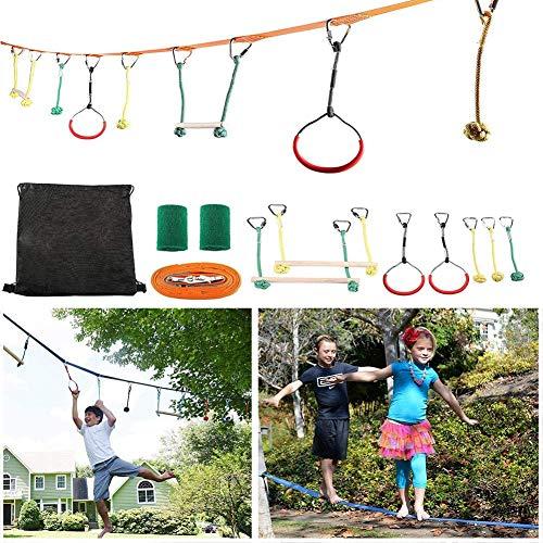 Slack Line Kit - Brazo de Entrenamiento Linea Ninja Barra de Mono Slackline Portátil Juego de Carrera de Obstáculos para Niños Equipo de Entrenamiento Guerrero