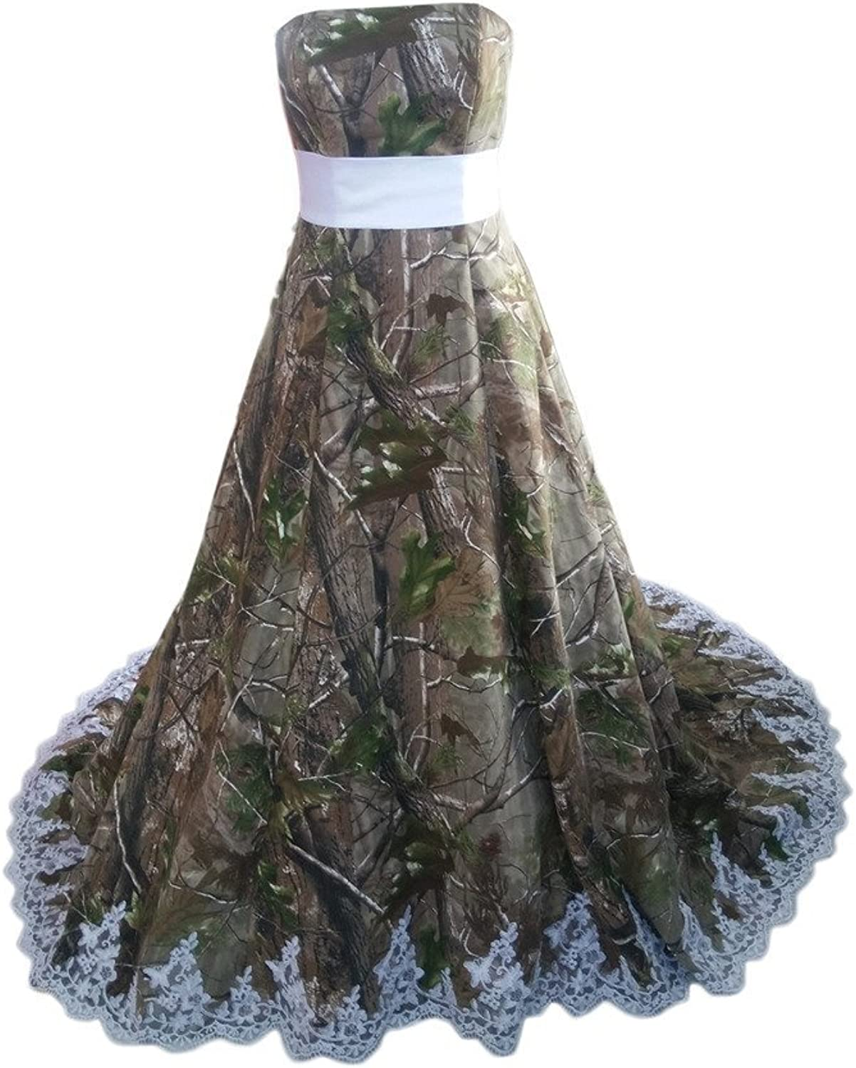 Angel Bride 2015 New Camo Wedding Dresses Strapless with Lace Chapel Train