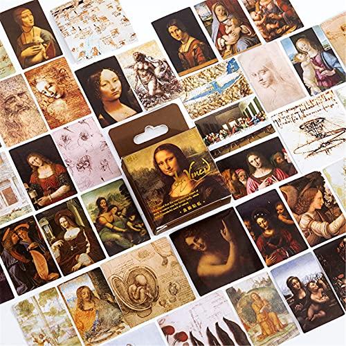 SWECOMZE 45 pegatinas para scrapbooking DIY de la obra del Mundial de Van Gogh, cuaderno de fotos, pegatinas decorativas para scrapbooking (Leonardo da Vinci)
