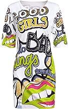 Leomodo Plus Size T Shirt Dress Women Funny Print Summer Dresses Cartoon