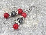 Orecchini Miss Chichi da donna in perle di turchese rosso ricostituite e perle di ematite