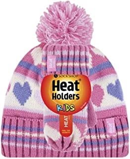 Heat Holders Girls Jacquard Beanie Hat with Pom Pom & Mittens, Pink Hearts, 3-6 years old