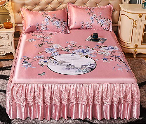 KIKIGO Foldable Folding Summer Ice Silk Cover,Bed skirt style ice silk air conditioning soft mat, lace lace, foldable, washable-A11_180*220cm (6 * 7.2ft) bed