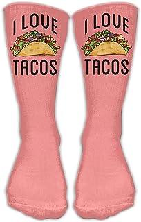 Bigtige, Calcetines clásicos de compresión I Love Tacos Pink Personalized Sport Athletic 50cm Long Crew Calcetines para hombres Mujeres