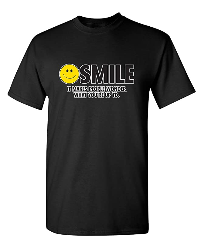 Feelin Good Tees Smile It Makes Emoticon Smile Face Sarcastic Cool Funny T Shirt