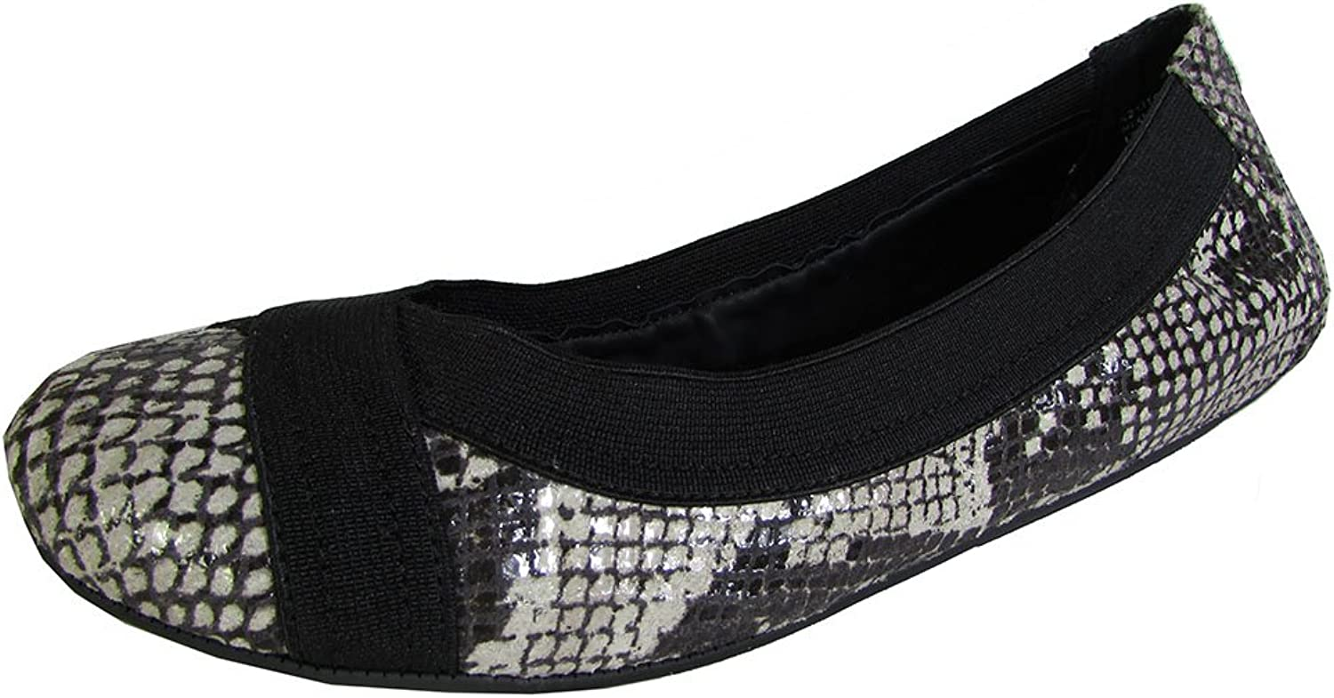 Adam Tucker by Me Too Womens Nixie Ballet Flat shoes, Black White Snake, US 6