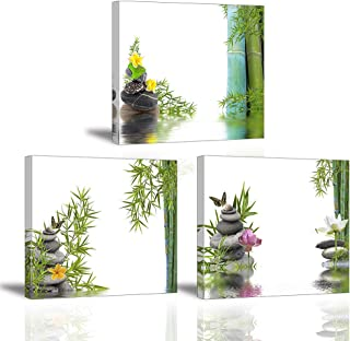 Piy Painting Cuadro sobre Lienzo, 3X Imagen Flor de Loto e Bamboo Impresión Tratamiento de SPA de Zen Pinturas Murales Decor Dibujo con Marco para Sala 30x30cm
