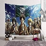 KOREYOSHIX Tapiz de Ataque a Titán Japanes con temática de anime para colgar en la pared, toalla de playa, manta de decoración de dormitorio, mantel de 150 x 130 cm