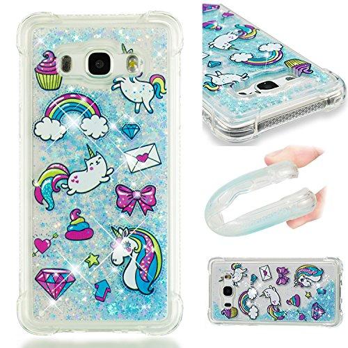 HopMore Compatible con Funda Samsung Galaxy J5 2016 Silicona 3D Glitter Liquido Brillante Purpurina Transparente Carcasa Resistente Ultrafina Case Cover Antigolpes para Mujer Niña - Unicornio
