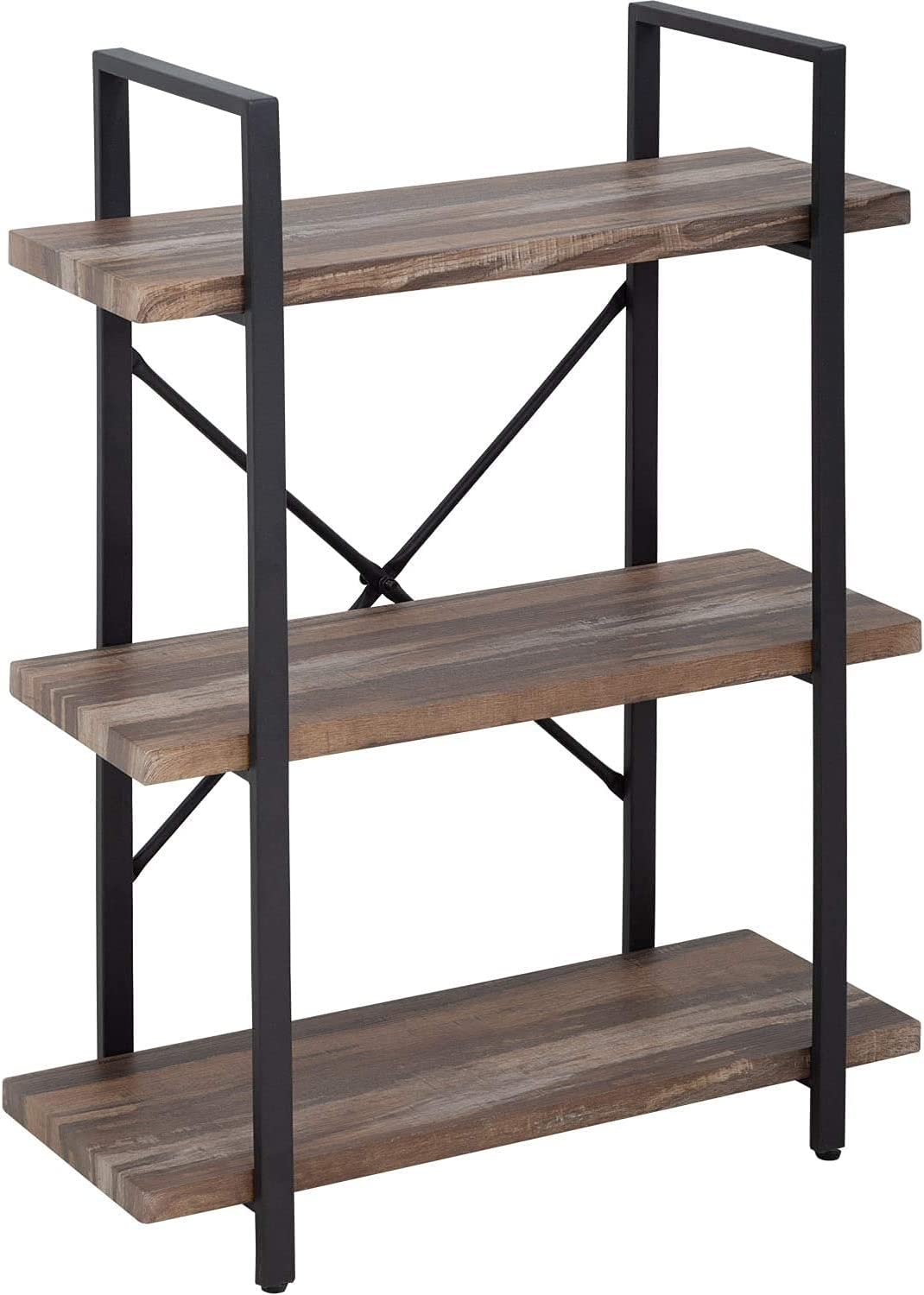 40-inch 3-Tier Solid Wood Bookcase Vintage Ope New item Industrial Rustic Max 81% OFF