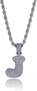 HECHUANG Iced out Bling Initial Bubble Letter Pendant Necklace Men/Women Silver Rope Chain