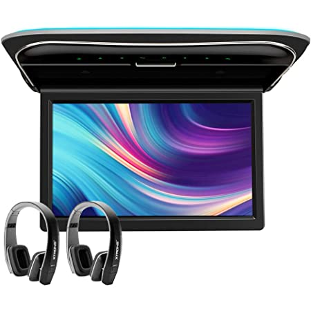 XTRONS 11.6 Inch Car Overhead Roof Mounted Monitor Screen Ultra-Thin Flip Down TV for Cars 1080P Car Video Player Supports IR, USB, HDMI, AV Input, One Pair Black IR Headphones Included