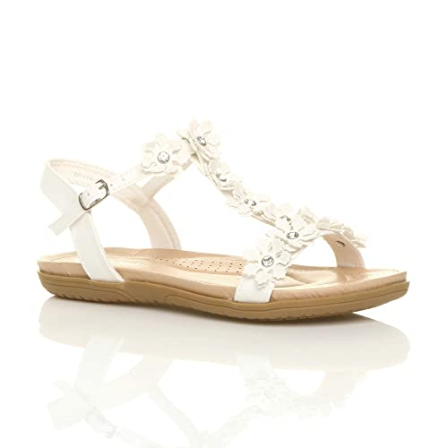 Ajvani Womens Ladies Flat Padded Comfort t-bar Buckle Flower Diamante  Sandals Size