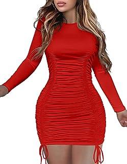 LAGSHIAN Women's Sexy Long Sleeve Ruched Drawstring Bodycon Mini Club Dress