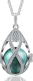 EUDORA Teardrop 20mm Rhinestone Harmony Bell Silver Plated Musical Locket Pregnancy Necklace, 30