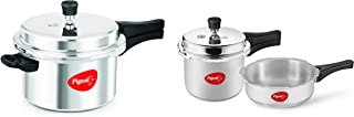 Pigeon By Stovekraft Favourite Al Outer Aluminium Pressure Cooker, 5 Litres (Silver) + Mini Combi Aluminium Cookware Set, ...
