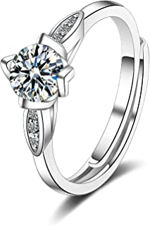 MadeOne 18K white gold plating excellent cut Cubic Zirconia CZ stone Four leaf single diamond Wedding Engagement adjustabl...