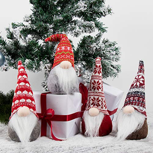 GMOEGEFT Swedish Christmas Gnome Plush, Scandinavian Santa Gnome Tomte, Table Ornaments, Holiday Decorations, Set of 4 (A)
