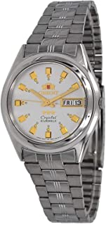 Orient FAB04003W Men's 3 Star Stainless Steel Day Date White Dial Automatic Watch