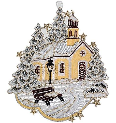 Fensterbild 20x24 cm + Saugnapf Plauener Spitze Winter Weihnachten Kapelle Winterwald Spitzenbild