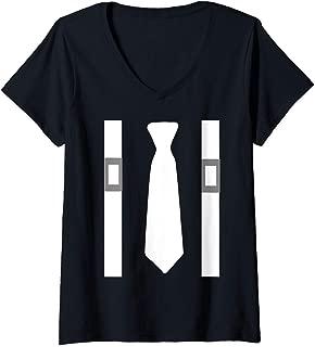 Womens White Tie With White Suspenders Mafia Costume Shirt V-Neck T-Shirt