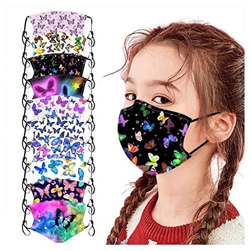 Yellsong 10 Stück Kinder Multifunktionstuch Mundschutz Cartoon Tierdruck Gesichtsabdeckung Mund und Nasenschutz Staubdicht Atmungsaktive Wiederverwendbar Baumwolle Bandana Halstuch Jungen Mädchen