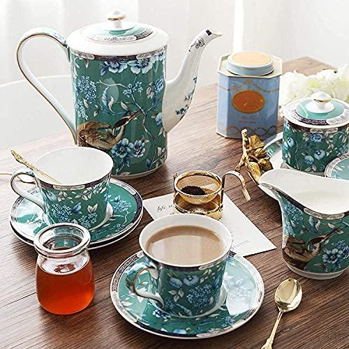 Juego de té de porcelana taza y platillo Set de café de hueso Set de té por la tarde seis tazas uno uno leche uno azúcar