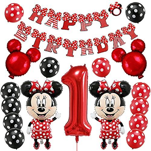 Minnie 1er Cumpleaños Globos, Artículos de Fiesta de Cumpleaños con Temática de Minnie Decoraciones para Cumpleaños Baby Shower