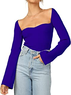 Womens Sweater Tops Sweetheart Neck Ribbed Bustier Corset Knit Long Sleeve Pullover Sweater Top
